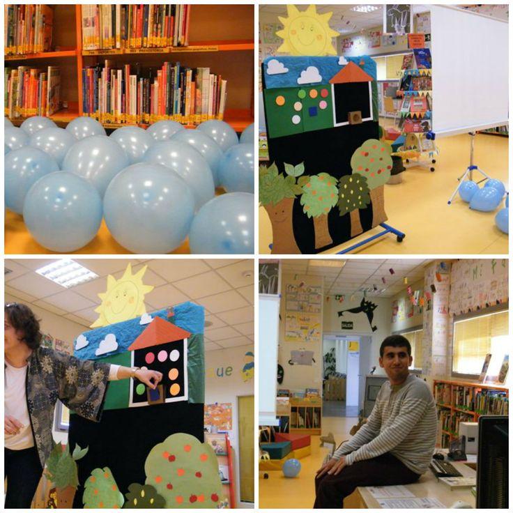 La biblioteca se llenó de globos azules y todo preparado para los cuentos. Jesús nos contó 'El cazo de Lorenzo' y nosotros 'Por cuatro esquinitas de nada'