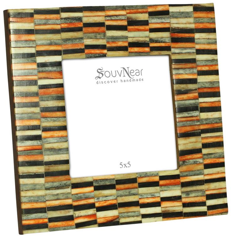 Bulk Wholesale Picture / Photo Frame in Wood & Natural Bone – 5x5 Display Stand / Home Décor in Orange, Black and More Colors