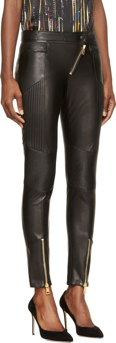 Fausto Puglisi Black Leather Ribbed Biker Trousers