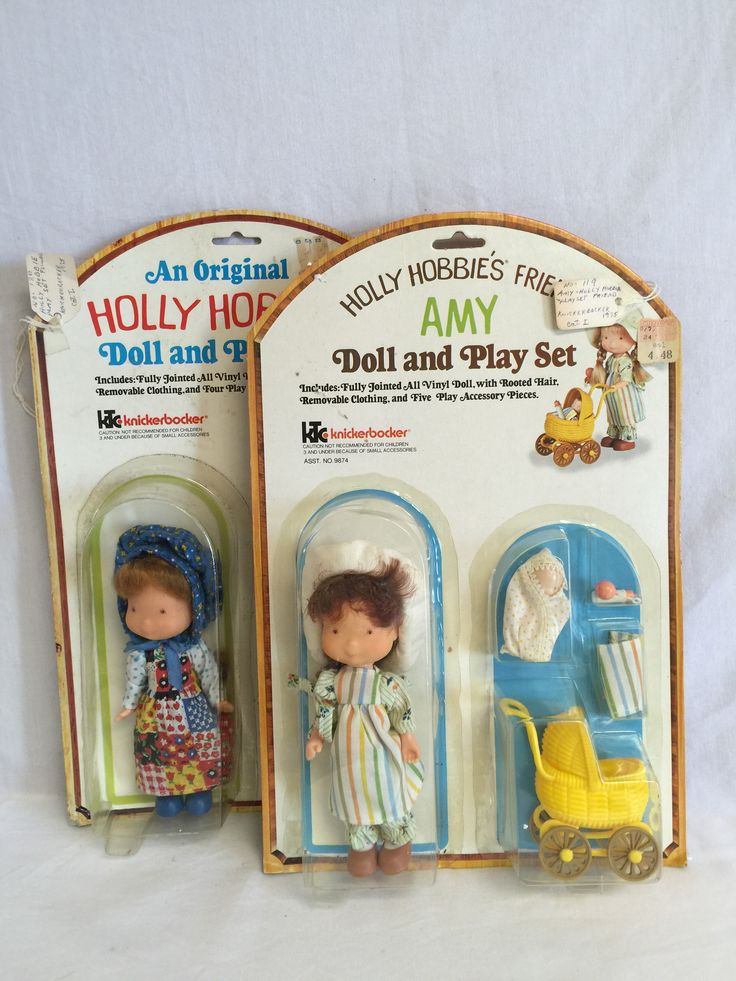 Knickerbocker, Holly Hobbie & her friend Amy Doll & Playset, Lot of 2, NRFSC. Both of these cards show storage wear - rubbings & creasing and discoloration. The plastic is attached on all sides and fo
