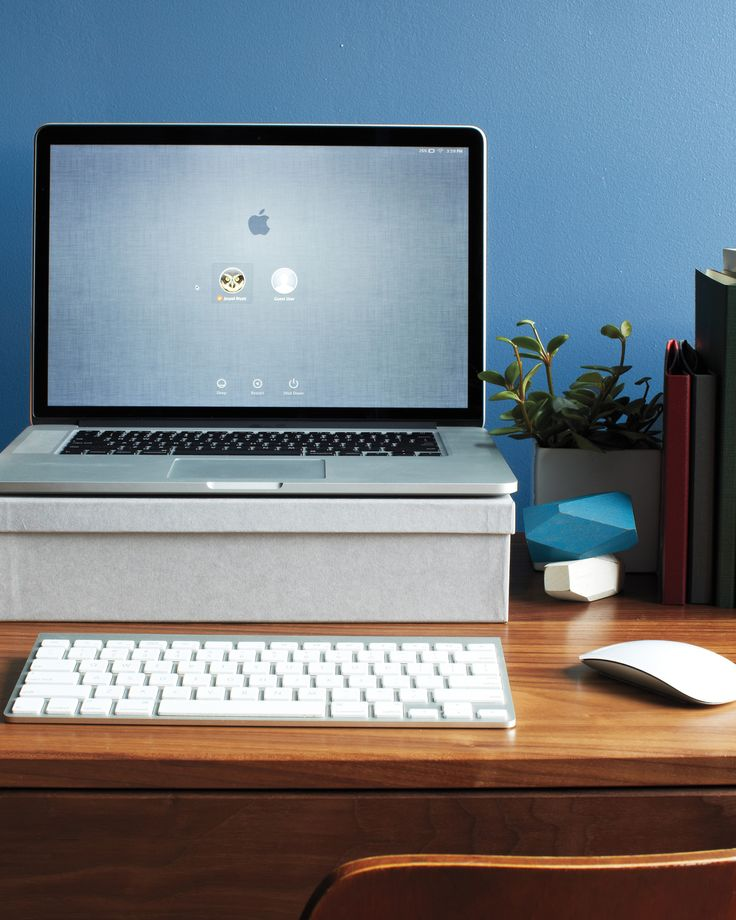 Your computer setup can increase productivity: The screen should be at eye level. Position it on the desk so that when you sit down and straighten your arm, your pointer finger is at the center of the screen, says Alan Hedge, director of the Human Factors and Ergonomics Laboratory at Cornell University. If you have a laptop, elevate it to the proper height -- we used a clothbound box -- and use an external keyboard and mouse to avoid hunching your back.