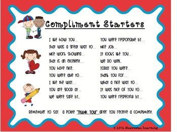 Compliment Starters for the classroom! Shawsome Learning's first freebie! Check it out!