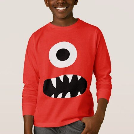 Funny Giant One Eyed Monster Face Kids Colorful T-Shirt - click to get yours right now!