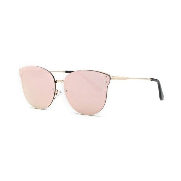 Stylish Pink Frameless Mirrored Sunglasses ($8.24) ❤ liked on Polyvore featuring accessories, eyewear and sunglasses
