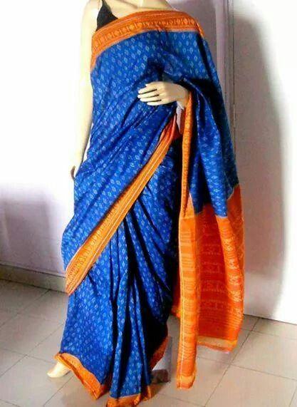 Handloom Cotton Ikat Saree in Beautiful Contrasting Blue and Orange