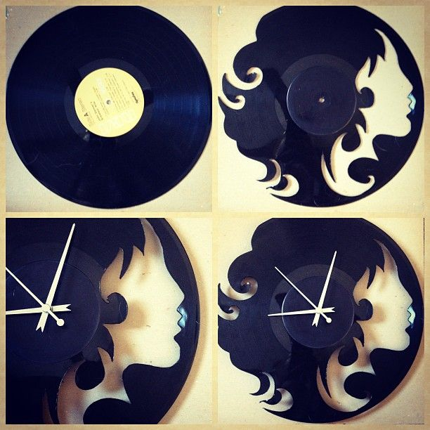 A clock out of vinyl record