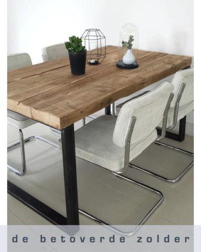 ≥ Eettafel Oude Balken (robuust stalen frame) - Tafels | Eettafels - Marktplaats.nl