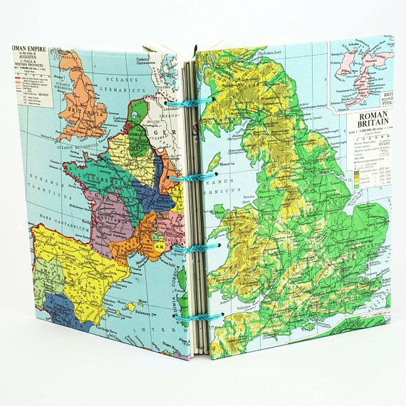 Map Travel Journal Reclaimed Ancient Map Notebook Travelers