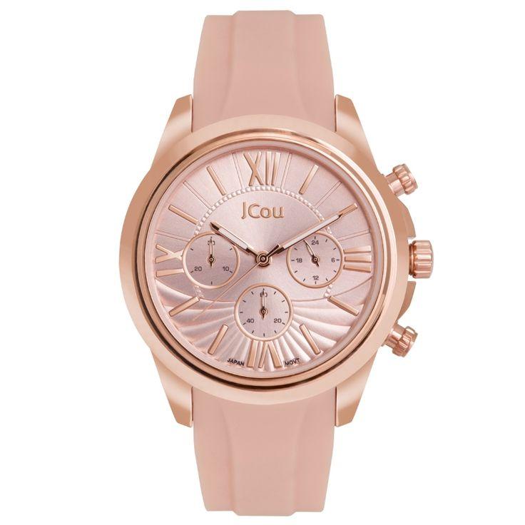 Γυναικείο ρολόι JCOU της σειράς Southcoast II, με κάσα από επιχρυσωμένο ροζ ανοξείδωτο ατσάλι και ροζ λουράκι καουτσούκ.    #tasoulis_jewellery #watch #jcou #jcou_watches #ρολόι #fashion #beauty #μπλε #ρολόι #κοσμήματα #pink