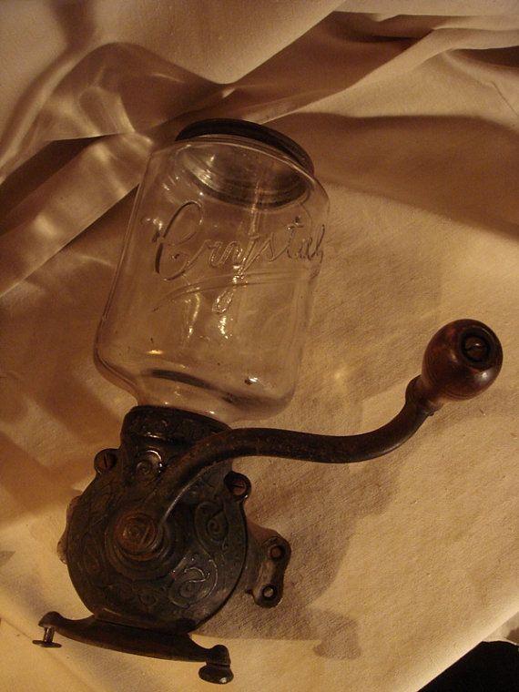 ANTIQUE Coffee Grinder CRYSTAL ARCADE Glass Top