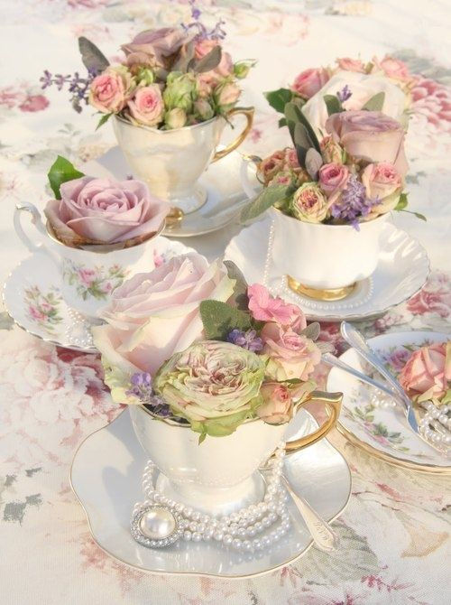 ❤ Teacup Flower Arrangements, pearls, lace