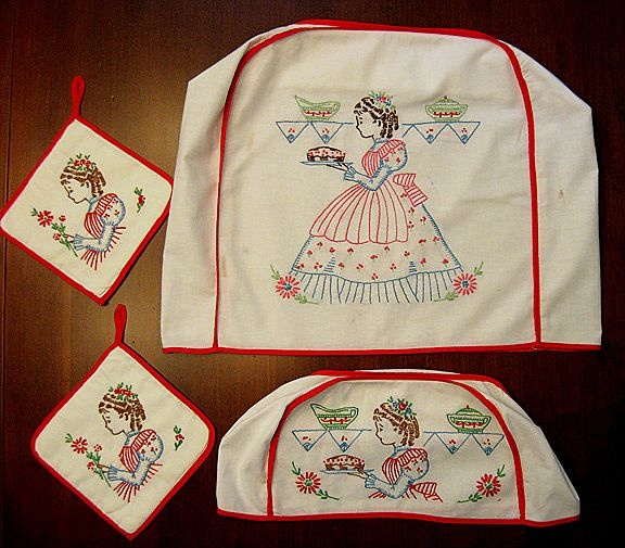 Vintage Kitchen Set Cute Embroidered Appliance Covers