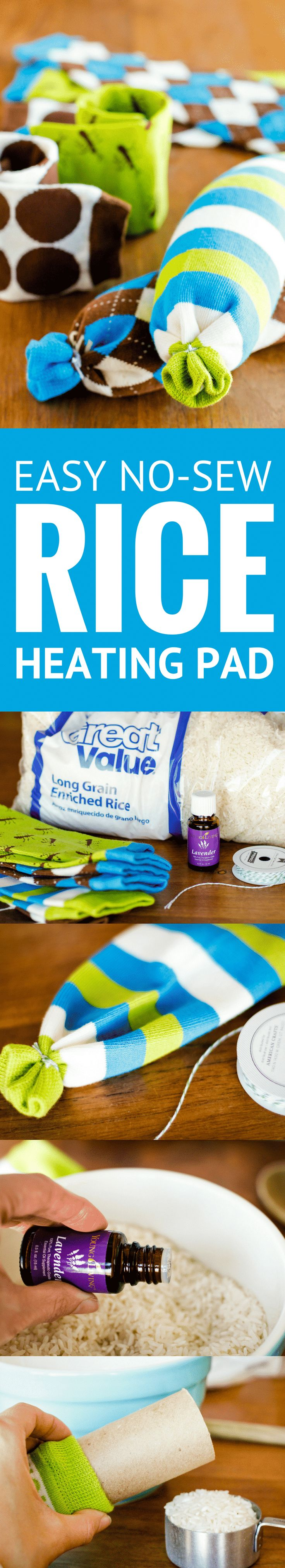 Easy No-Sew Rice Heating Pad -- these homemade microwavable rice heating pads took less than 5 minutes to make, start to finish! Perfect for soothing sore muscles or warming up from the cold, especially when you add a few drops of essential oil…| rice heating pad sock | rice heating pad diy | homemade hot pack | rice heating pad instructions | rice heating pad tutorial | how to make a rice heating pad | find the tutorial on unsophisticook.com