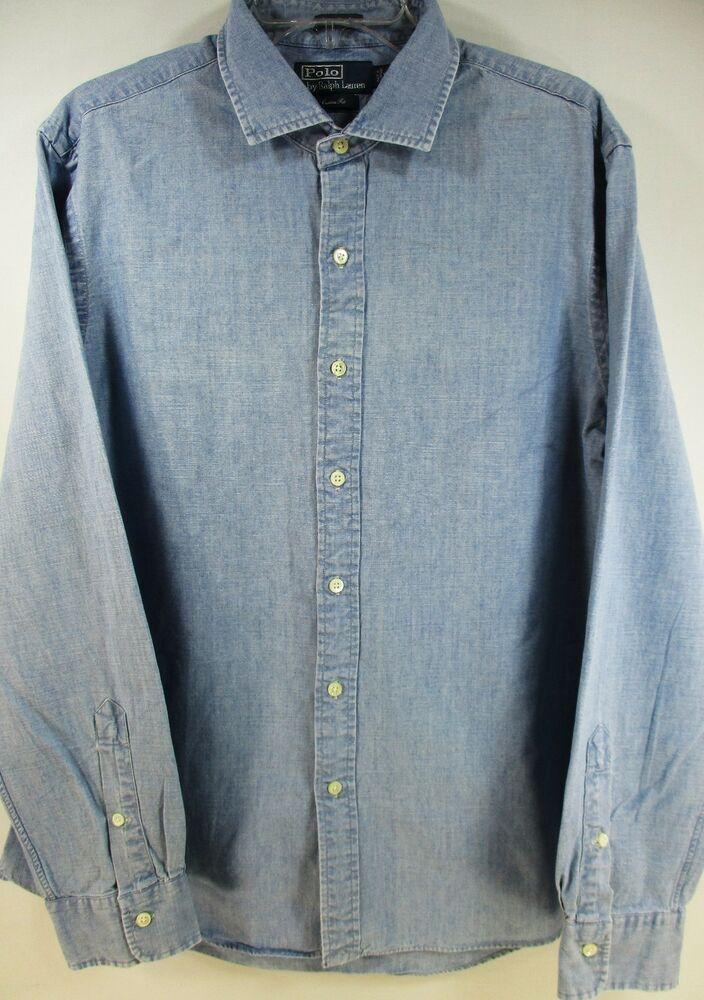 274f32bd5 Ralph Lauren Polo Men L S Button Front Shirt Size XL Indigo Chambray Blue   RalphLauren  ButtonFront