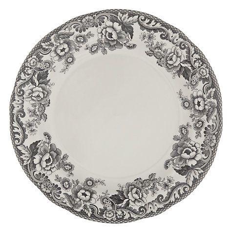 Buy Spode Rural Delamere for John Lewis Dinner Plate, Dia.28cm, Grey Online at johnlewis.com