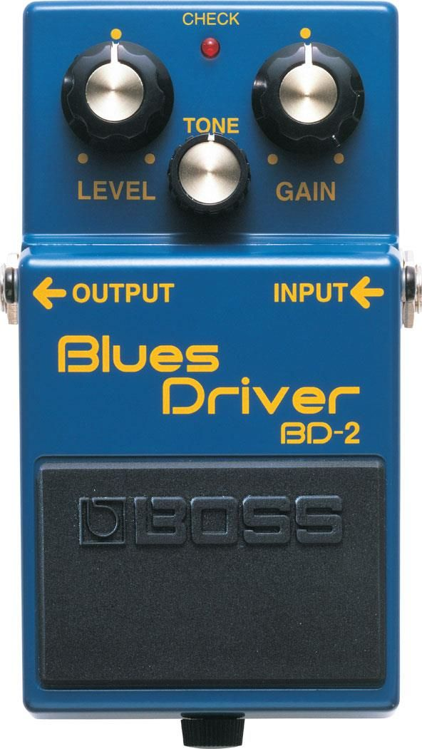 Boss BD-2 Blues Driver Overdrive and Distortion Pedal. This was chosen by GuitarSite.com as one of the best distortion pedals in 2016. For a detailed Guide to Distortion Pedals see http://www.guitarsite.com/best-distortion-pedal/