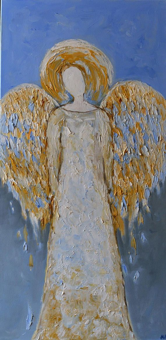Guardian Angel Painting Gold Original Angel Wall Art Angel