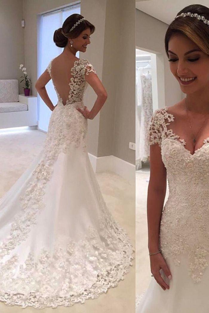 Gorgeous Lace Short Sleeves Bride Dresses 2018 Mermaid Wedding