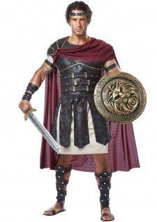 Dit romeinse gladiator kostuum is genaamd: Roman Gladiator. In totaal is het een acht delig Romeins gladiator kostuum! Het begint bij de creme tuniek, daaroverheen gaat het harnas met aangehechte cape. Het schouder harnas kan worden vastgemaakt met klittenband en de medallion waar je ook de punt van de cape mee bevestigd. De finish in toutch zijn de elastieke hoofdband, bovenarm banden met klitteband en de elastieke polsstukken met een identieke afwerking en inclusief beenbeschermers.