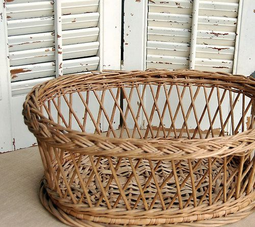 Vintage Basket Wicker Woven Rustic French... — http://www.wickerparadise.com