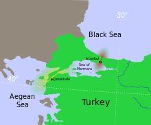 Carte des détroits avec les Dardanelles en jaune et le Bosphore en rouge
