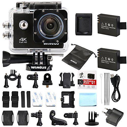 WiMiUS Q1 Caméra Sport 4k Full HD 16MP Wifi Etanche 40M Action Caméra Embarquée Grand Angle 170°Kit d'accessoires + 2 Batteries (Noir):…