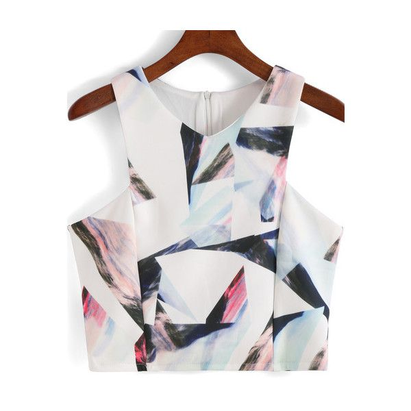 SheIn(sheinside) White V Neck Geometric Print Crop Tank Top (17 AUD) ❤ liked on Polyvore featuring tops, crop tops, crop, sheinside, shirts, multi color, polyester shirt, camisoles & tank tops, white cami and v neck crop top