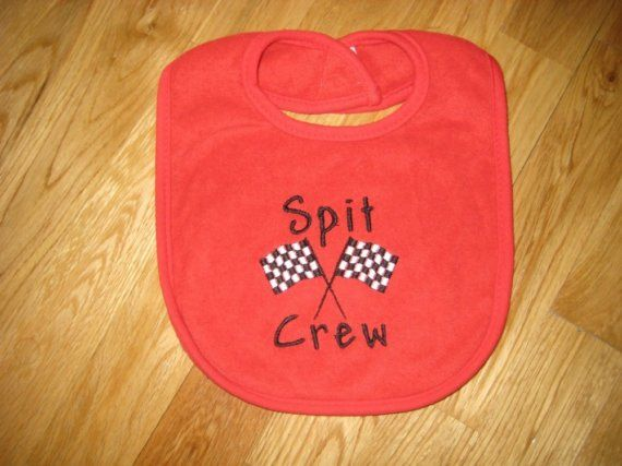Race Car Themed Baby Bib by alphabetsoupboutique on Etsy, $9.00