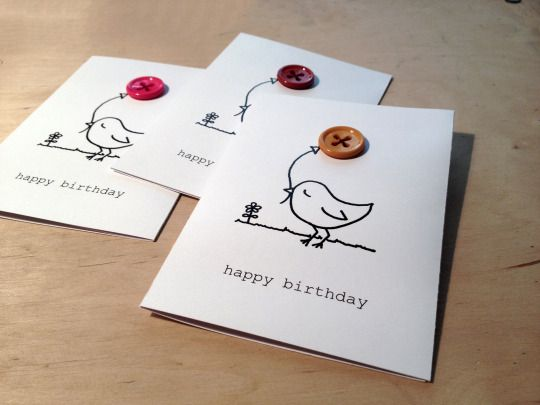 """""""a little bird told me"""" handmade birthday card with buttons"""
