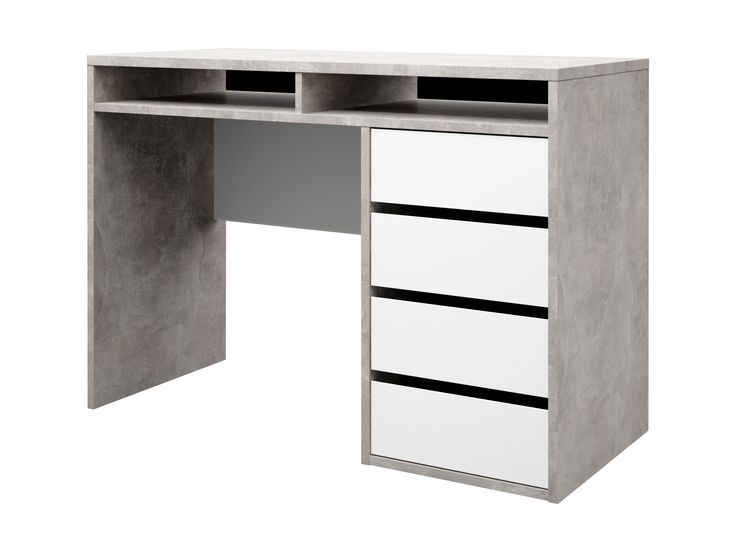 #Bureau droit BEST LAK Imitation #Béton/#Blanc brillant - BUT #decoration #meuble #inspiration