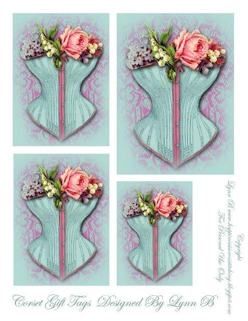 Le bonheur est Cross Stitching: Freebie vendredi - étiquettes de cadeau de corset et les détenteurs de fil.