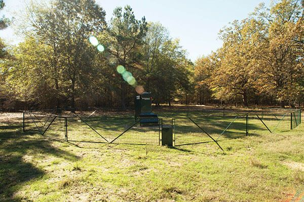 The Fawn Panel is used to create a shorter section of perimeter fence around the feed station to allow fawns a point of easy access for jumping over the fence and into the feed station.