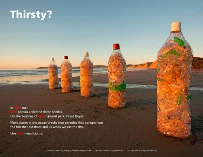 Botellas de casi 2 metros llenos de botellas recogidas por un hombre, en lo que va del año, playa de Point Reyes, California.