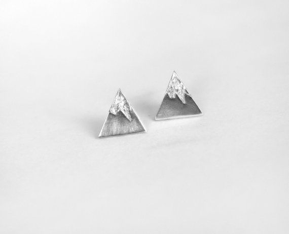 super cute mountain earring studs! Tanuki Jewelry on Etsy