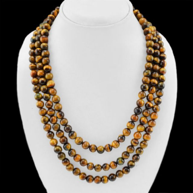 Golden Tiger Eye Beads Necklace 859.00 Cts Natural 3 Line Round Beads Neckl  tiger eye beads, gemstone necklace