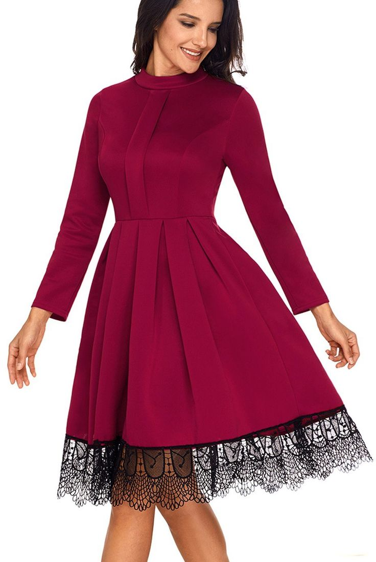 Robe Patineuse Bordeaux Manche Longue Dentelle Ourlet Detail Pas Cher www.modebuy.com @Modebuy #Modebuy #Bordeaux #style #mode #simple #partydresses