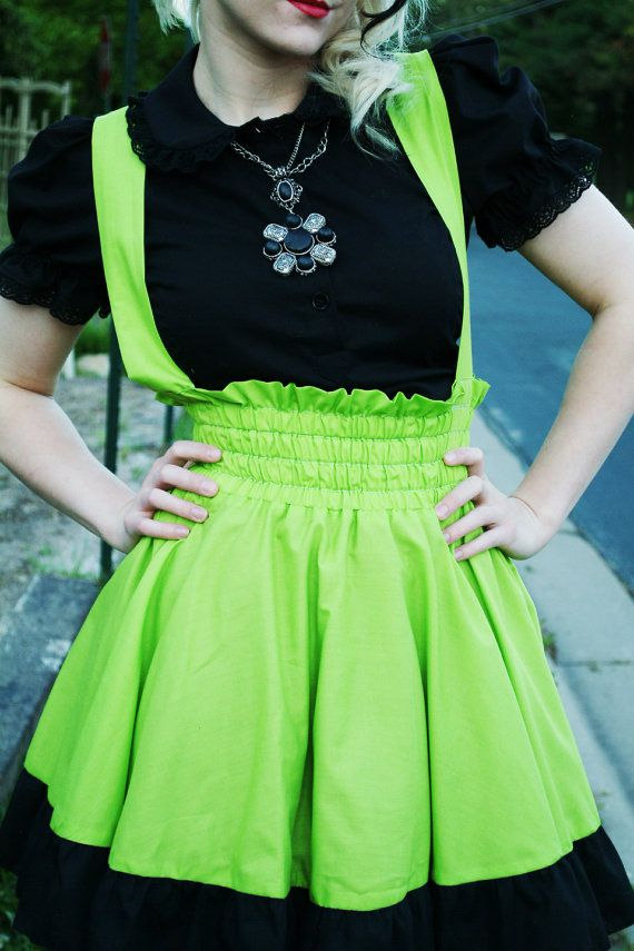 Plus Size Punk Lime Green Dress Adult Halloween by KMKDesignsllc