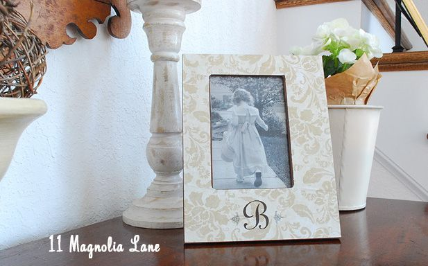 Easy decoupaged monogrammed picture frame tutorial from 11 Magnolia Lane: Crafts Ideas, Monograms Frames, Gift Ideas, 11 Magnolias, Frames Tutorials, Diy Monograms, Scrapbook Paper, Wood Frames, Pictures Frames