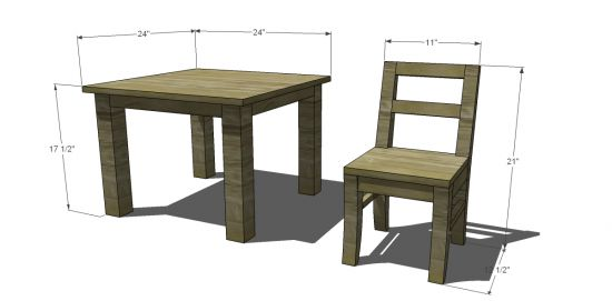 Free DIY Furniture Plans to Build a Pottery Barn Kids Inspired My First Table and Chairs | The Design Confidential