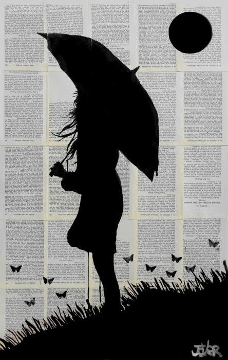 HORIZON ink on vintage book pages by Loui Jover - available to buy at bluethumb.com.au/louijover #silhouette #pop #monochrome #art #drawing