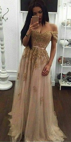 Off Shoulder Sleeves Prom Dress,Gold Lace Prom Dresses,Sexy Graduation Dress,Gold Formal Party Dress