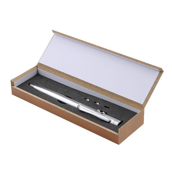 COD.BM024 Bolígrafo metálico multi-función 3 en 1. Incluye bolígrafo, linterna LED y puntero láser. Presentación en estuche de madera.