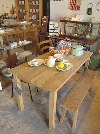 ナチュラルダイニングテーブル・チェア 古木無垢材・無塗装の家具 シャビーシックな雰囲気