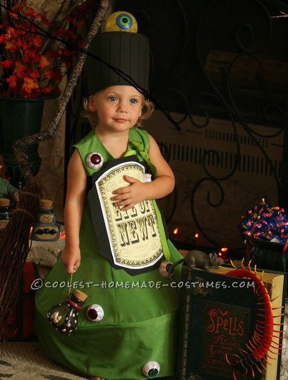 original costume idea for a toddler eye of newt magic potion bottle costume - Original Ideas For Halloween