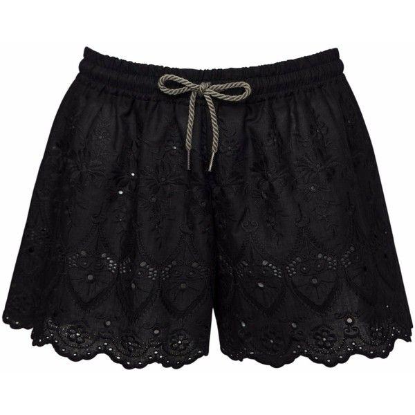 VUJVUJ Nightwear - Black Lace Shorts (61 CAD) ❤ liked on Polyvore featuring intimates, sleepwear, pajamas, lace sleepwear and lace pajamas