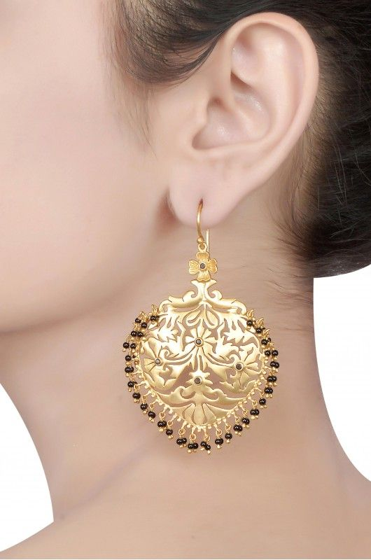 Silver Gold Plated Floral Jaali Earrings