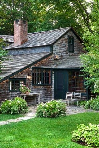 Dark windows doors and trim, cedar shingles, Farrow and Ball Hague Blue