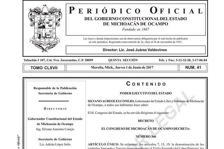 La Secretaría de Gobierno, que encabeza Adrián López Solís, informa que fueron publicadas las reformas al Código Electoral del Estado de Michoacán, mismas que serán aplicables para el proceso electoral ...