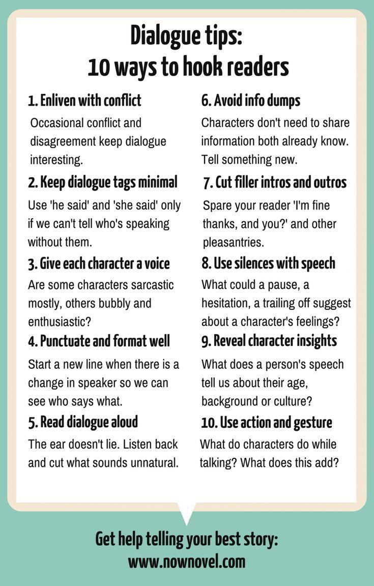10 Dialogtipps zum Einhängen von Lesern in 2020 | Book writing tips, Writing  words, Creative writing tips