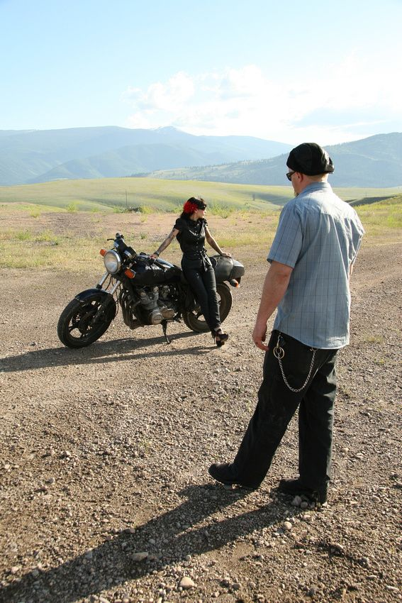 Mountain Motorcycle Engagement Photo Missoula, MT
